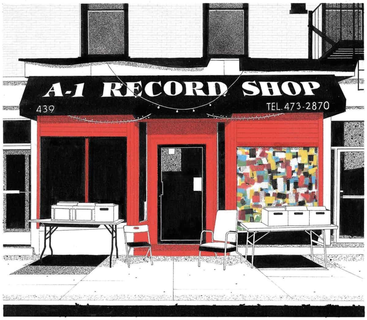 Illustration of a Brooklyn record shop storefront.