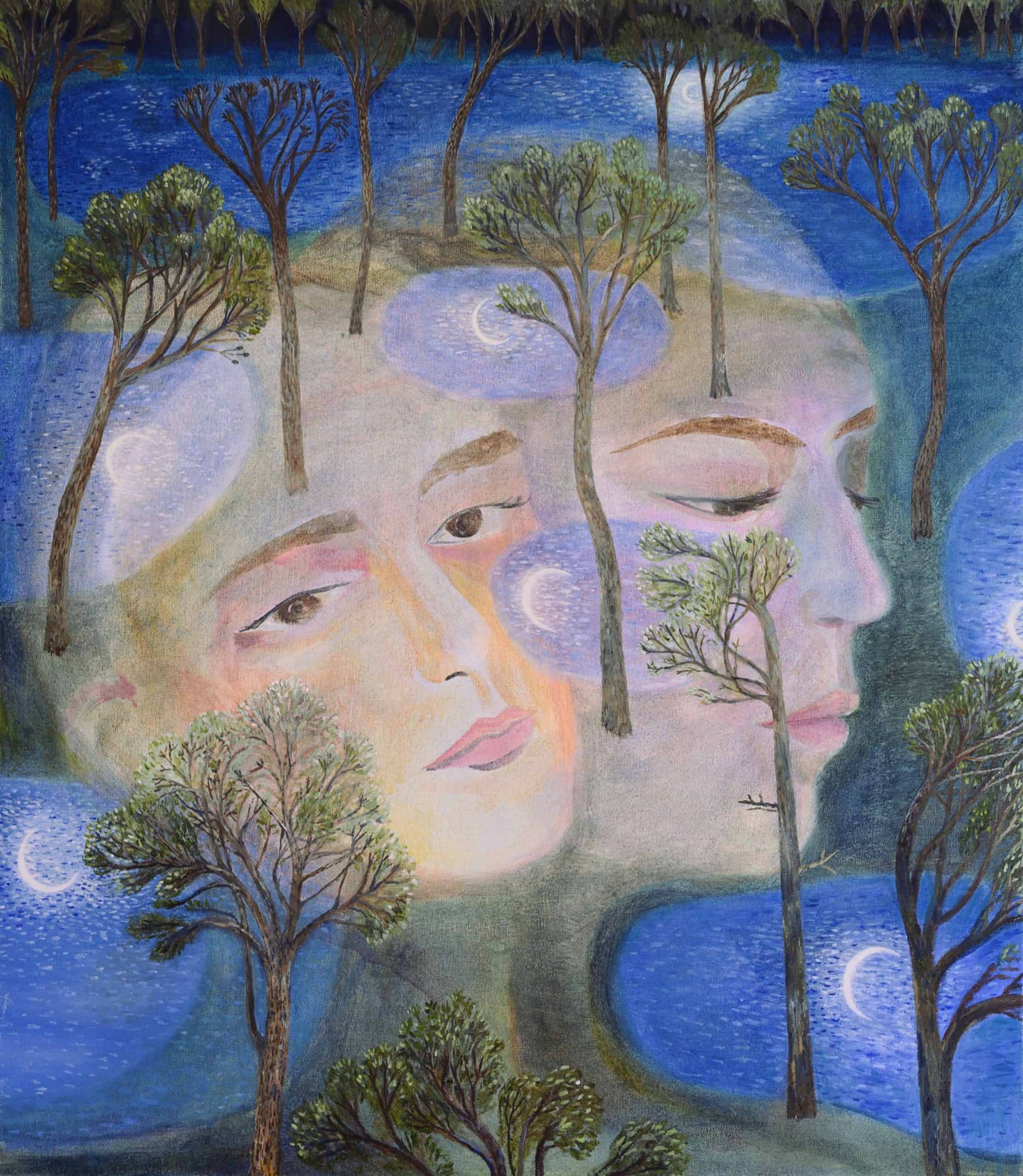 Ethereal faces dream at night upon a landscape of moonlit ponds.